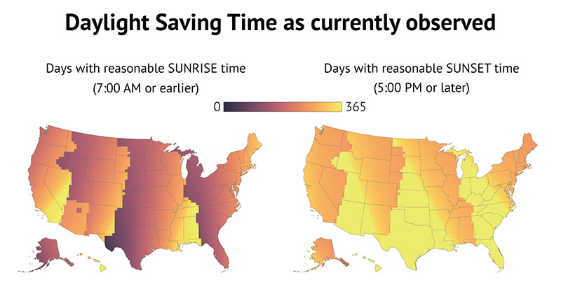 Daylight saving time as currently observed.