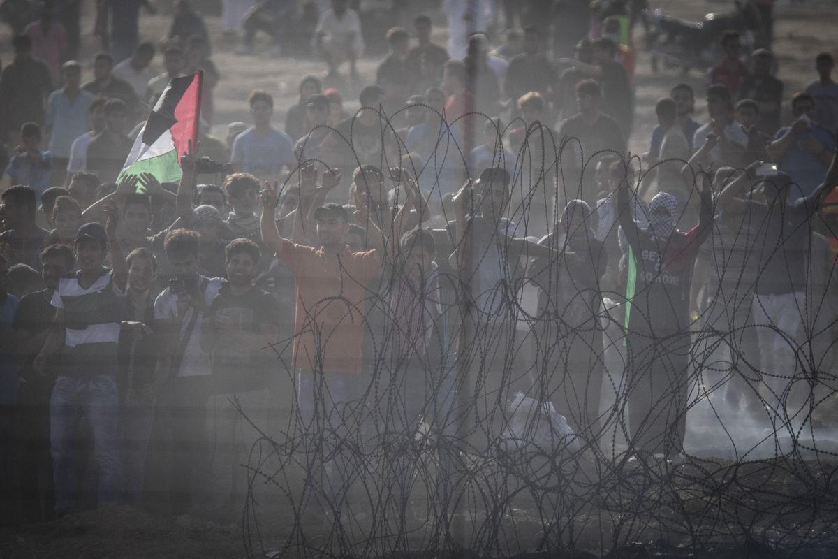 A protest along the border between Israel and the Gaza Strip.