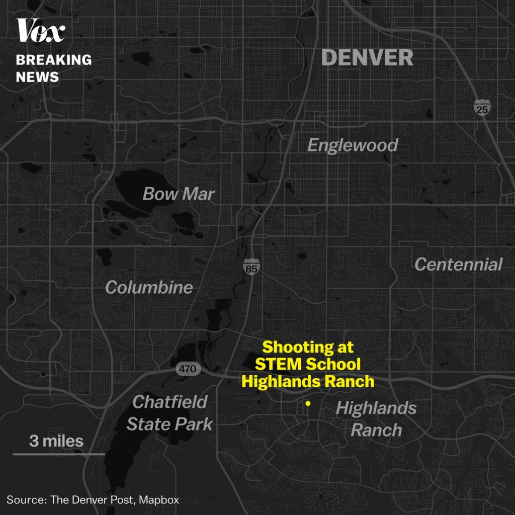 A map of the shooting location at STEM School Highlands Ranch near Denver, Colorado.