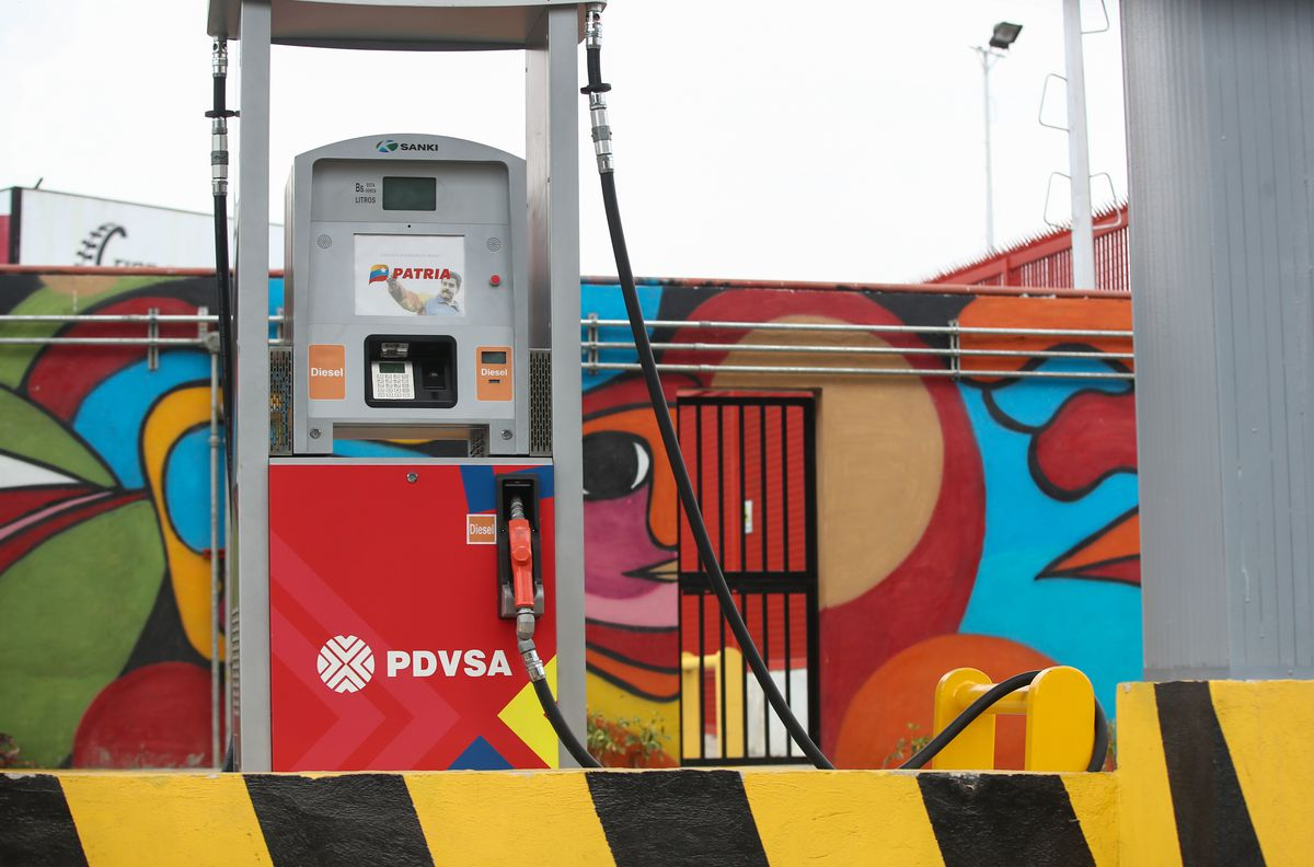 A fuel filling station of PdVSA, the Venezuelan state-owned oil and natural gas company, on March 5, 2019, in Caracas, Venezuela.