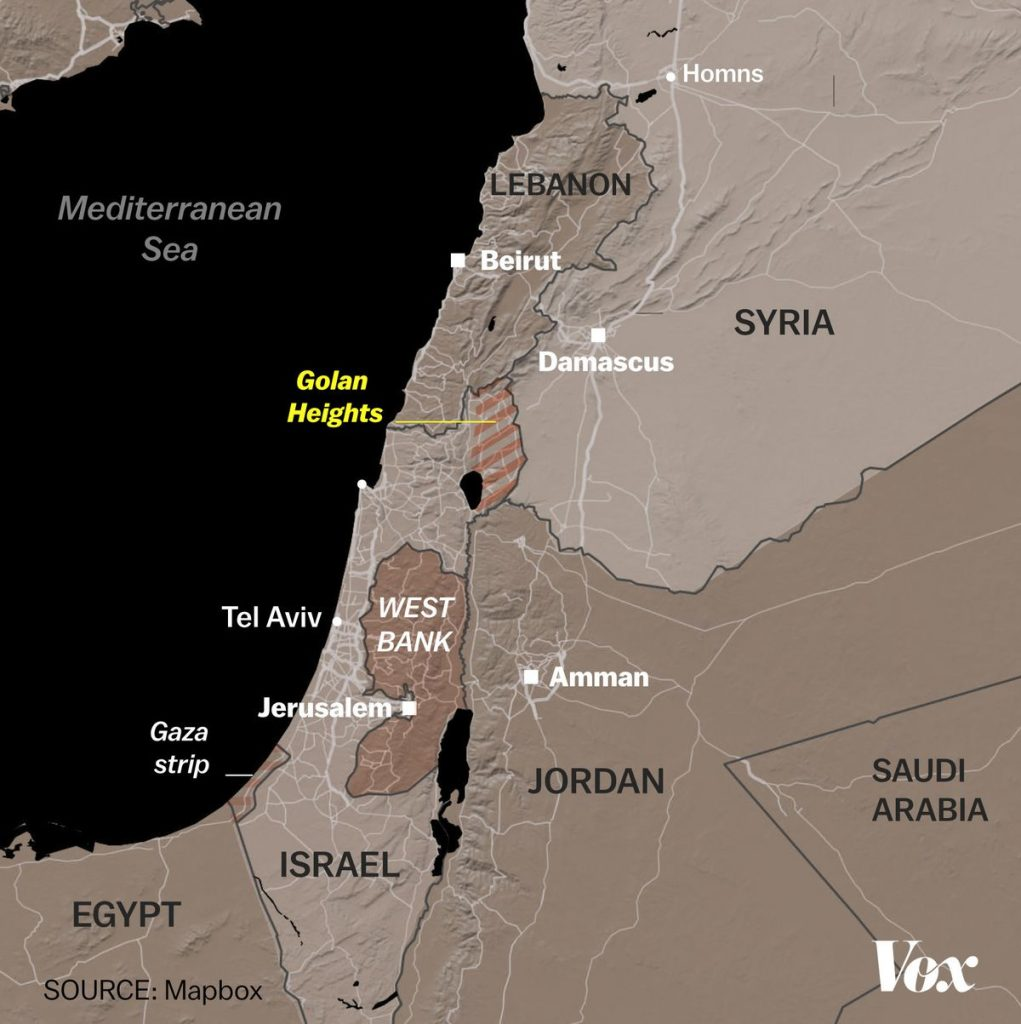 Map of Golan Heights area.