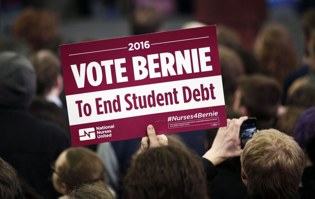 A supporter of Sanders's free college proposal at Sanders' first campaign rally in Michigan at Eastern Michigan University February 15th, 2016