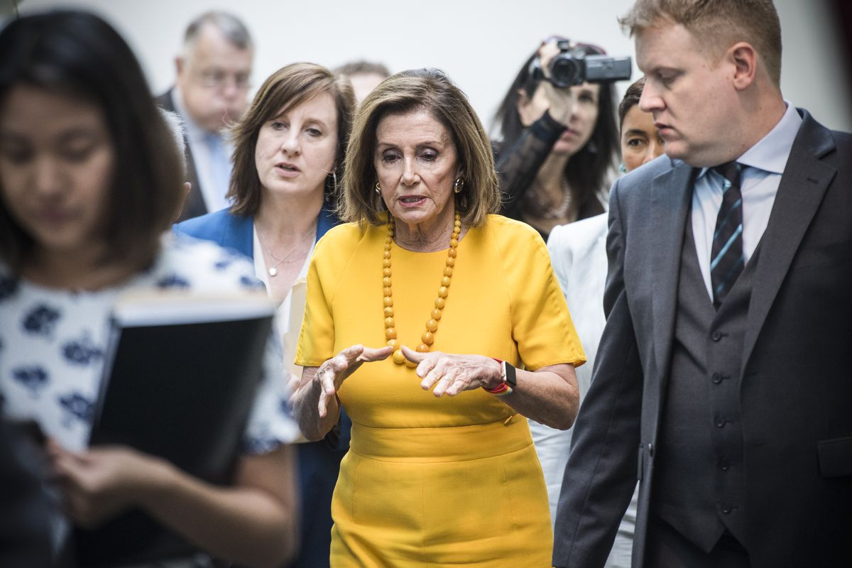 Speaker Nancy Pelosi (D-CA), leaves a meeting of the House Democratic Caucus as former special counsel Robert Mueller testifies before the House Judiciary Committee on July 24, 2019.