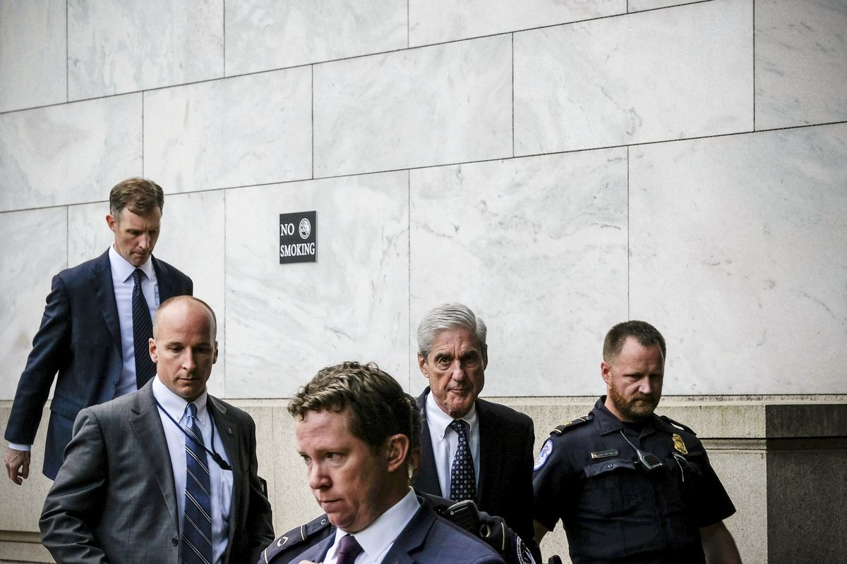 Former Special Counsel Robert Mueller departs after testifying to the House Intelligence Committee on July 24, 2019.