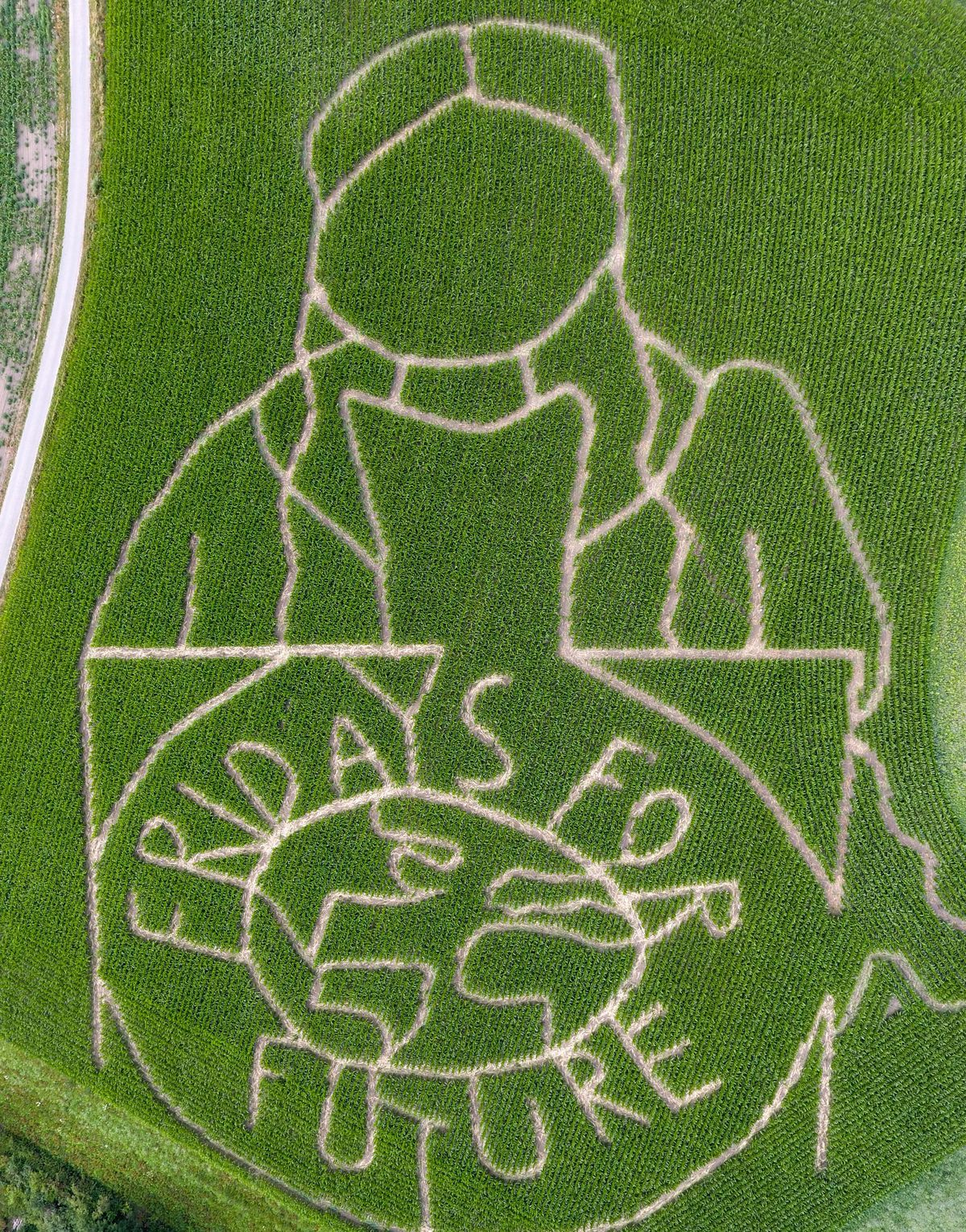 An aerial picture shows a labyrinth in a corn field with a portrait of Swedish climate activist Greta Thunberg and text reading 'Fridays for Future' in Germany.