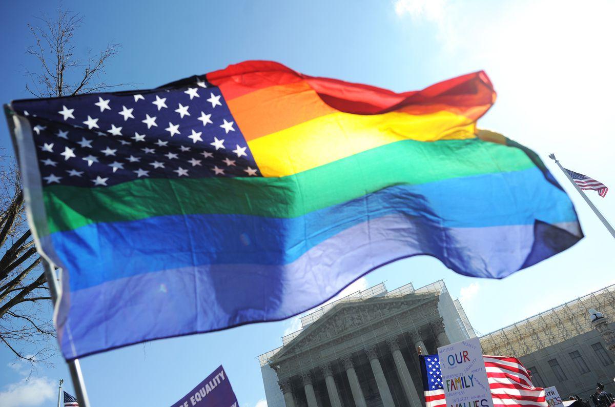 An LGBTQ pride flag.