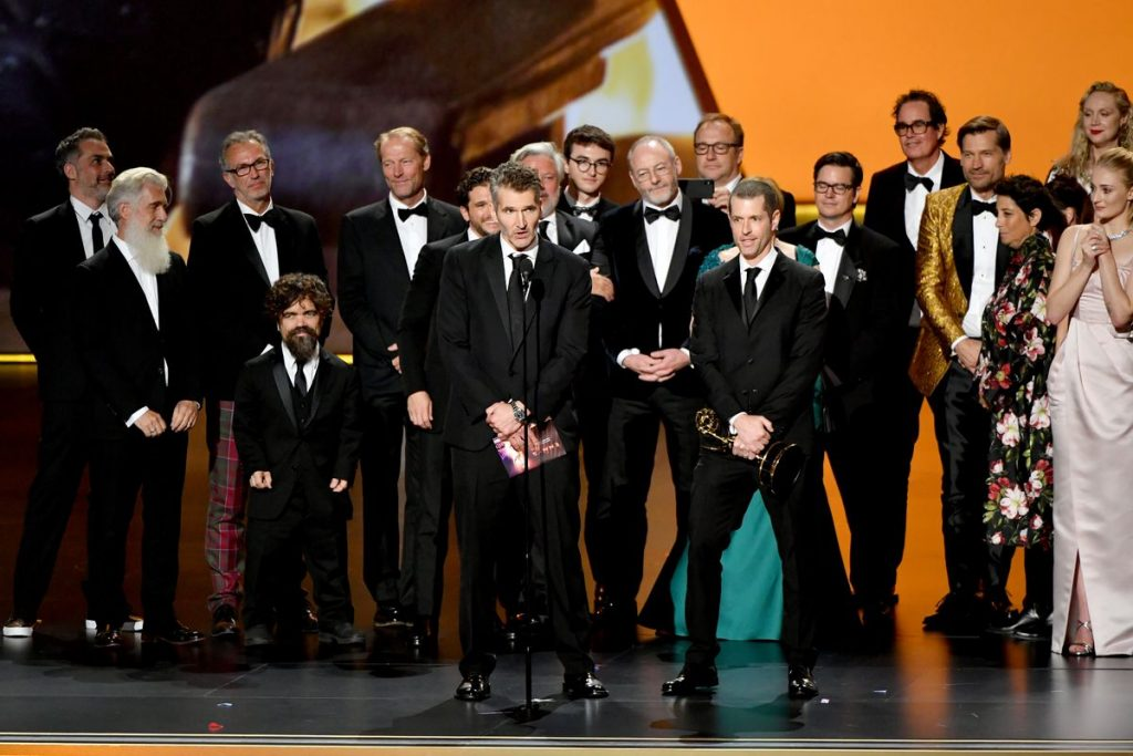 The cast and crew of Game of Thrones celebrate their final Emmy win for Outstanding Drama Series.