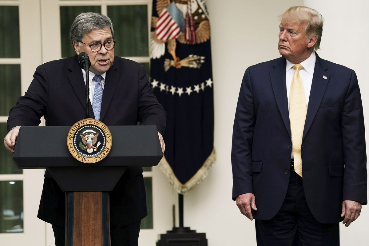 Attorney General William Barr speaks alongside President Trump during a statement on the census.