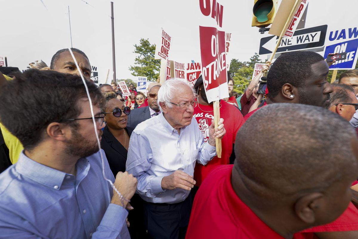 Sen. Bernie Sanders Joins UAW Picket Line In Detroit