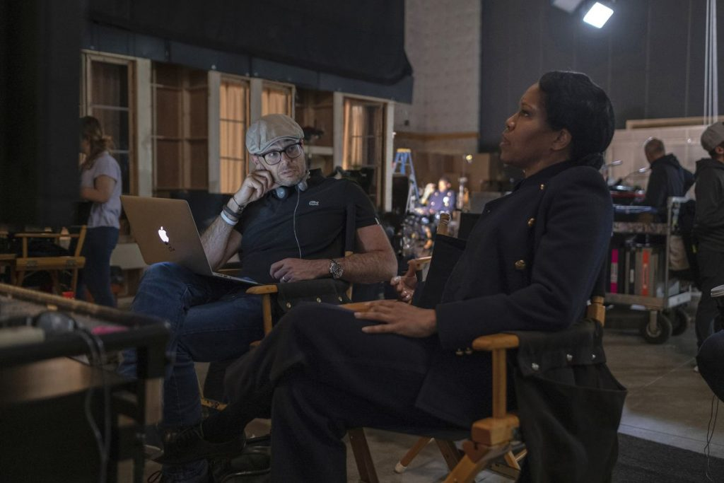 Regina King and Damon Lindelof behind the scenes of Watchmen.