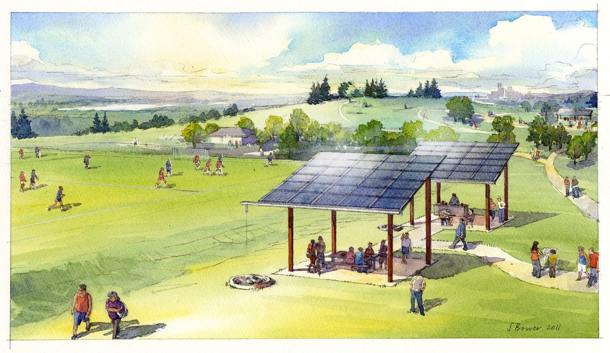Sketch of shared solar project as Jefferson Park, on in Seattle's Beacon Hill.