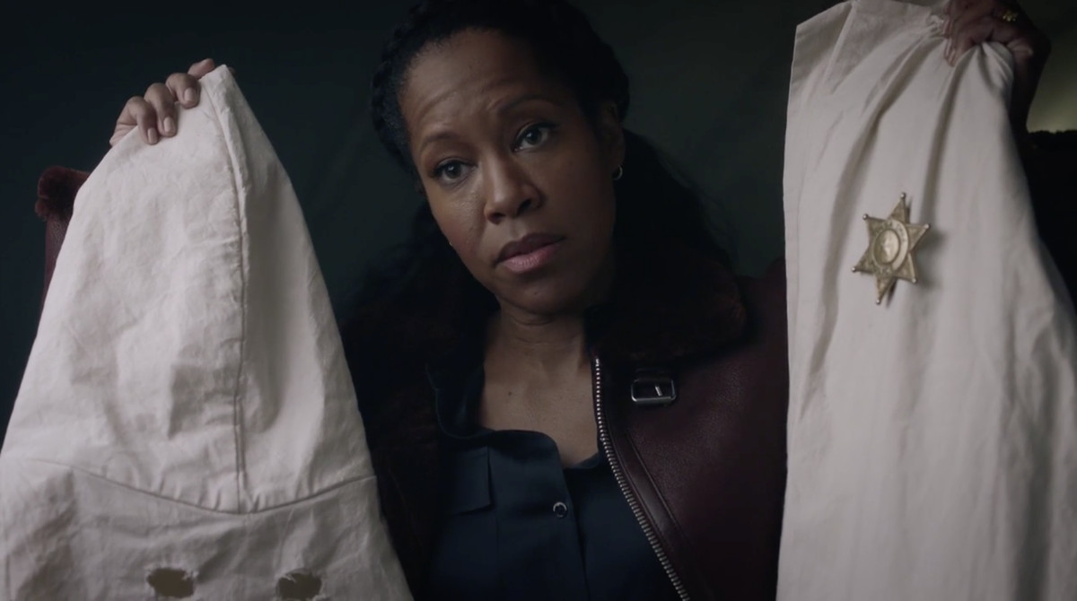 Angela (Regina King) holding a KKK hood in episode three of Watchmen.