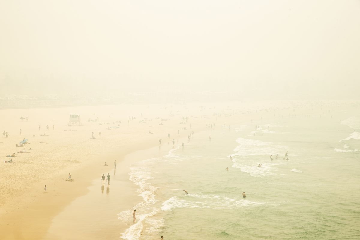 Smoke haze is seen over Bondi Beach as the air quality index reaches higher than ten times hazardous levels in some suburbs on December 10, 2019 in Sydney, Australia.