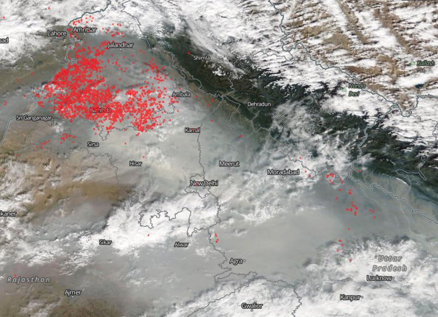 Satellite image of fires burning in India.