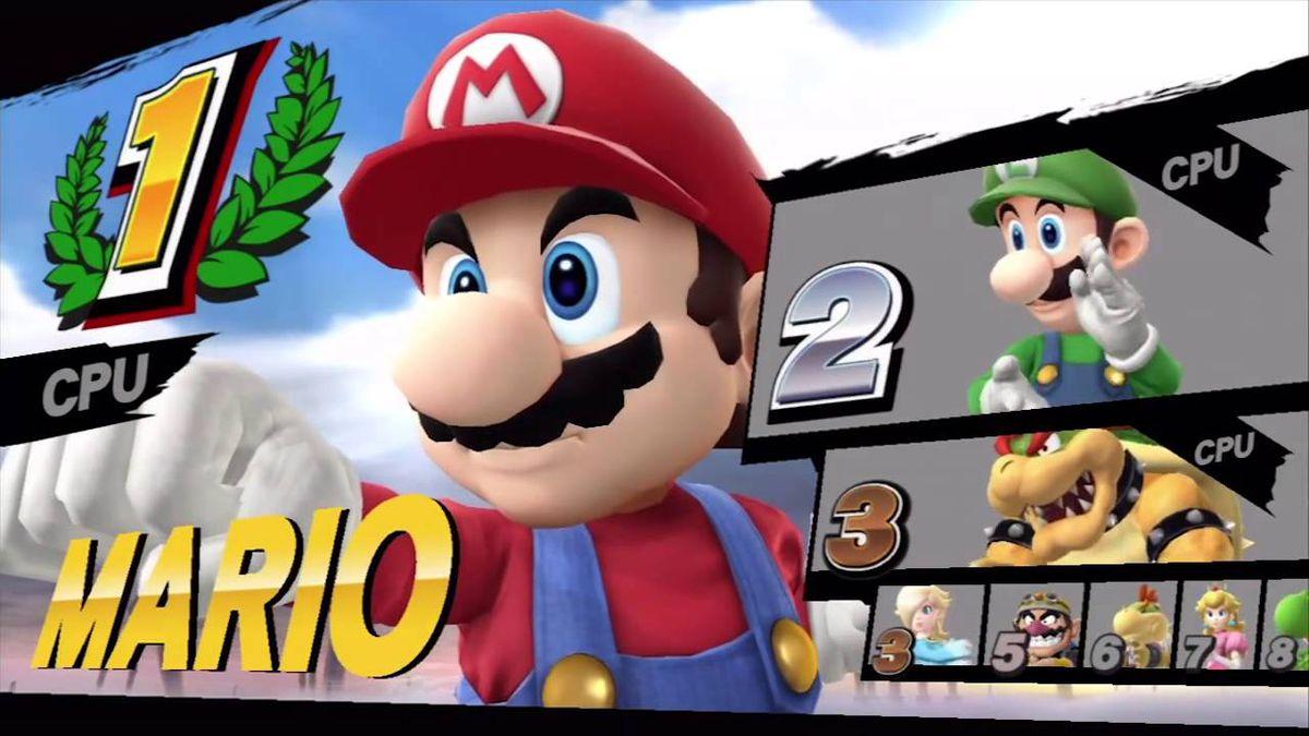Results screen in Super Smash Bros.