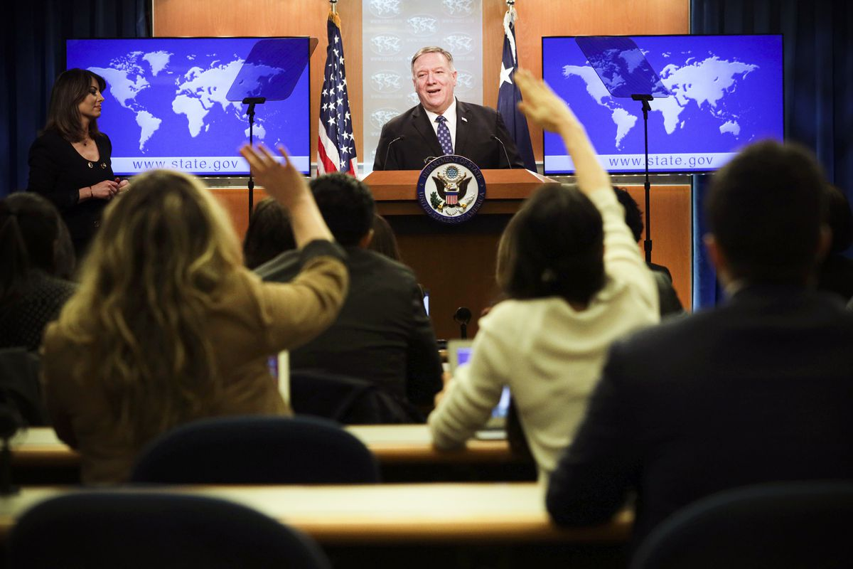 Secretary of State Mike Pompeo addresses reporters about the coronavirus update