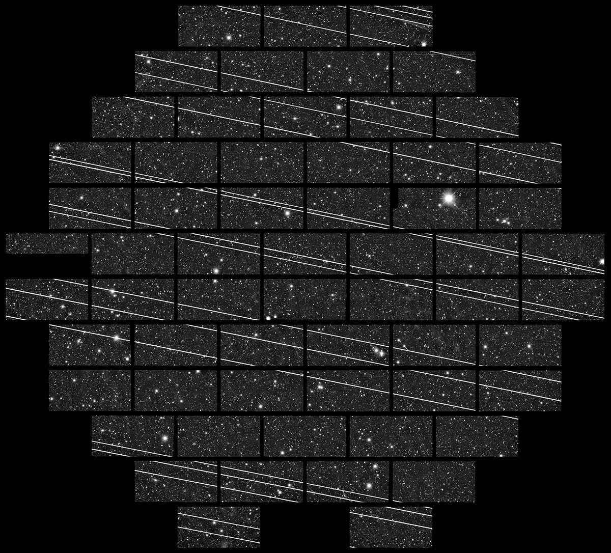 Streaks of lines on a night sky.