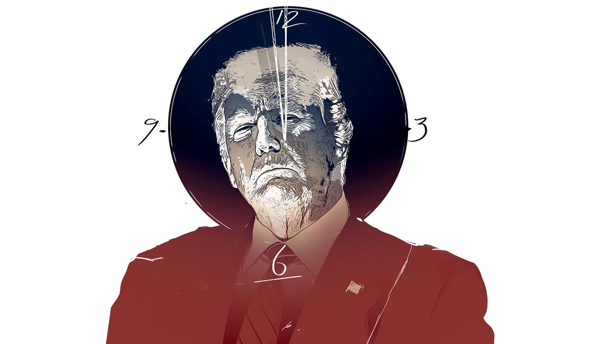 An illustration in tones of red and blue, showing a dramatically-contrasted Trump, stony expression on his face, before a circular clock face, the hands pointing to a few minutes before 12.
