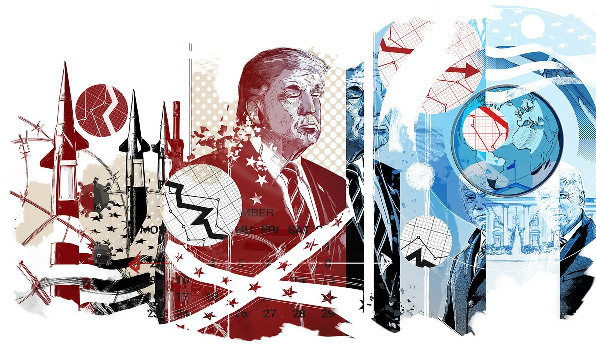 An illustration in tones of blue, black and red shows Trump surrounded by images including barbed wire, plummeting graphs, missiles, a Confederate flag and the world.