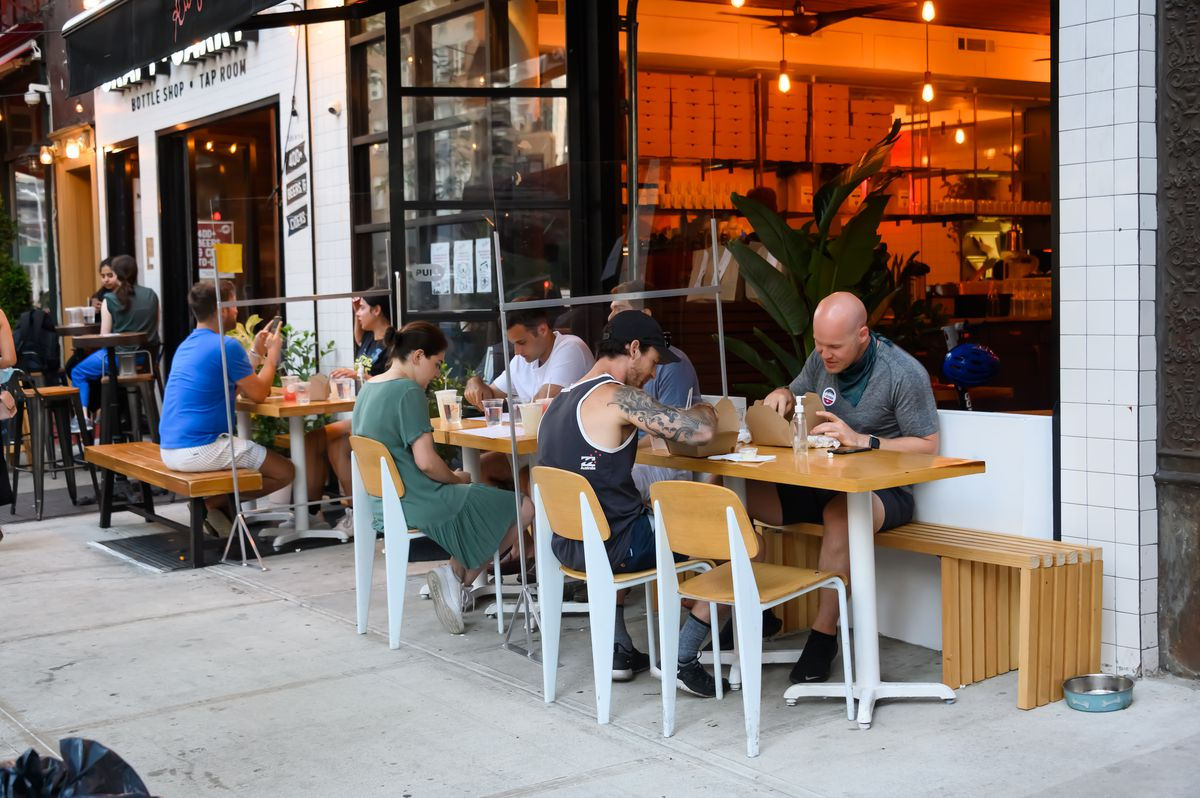 Diners outdoors in New York.