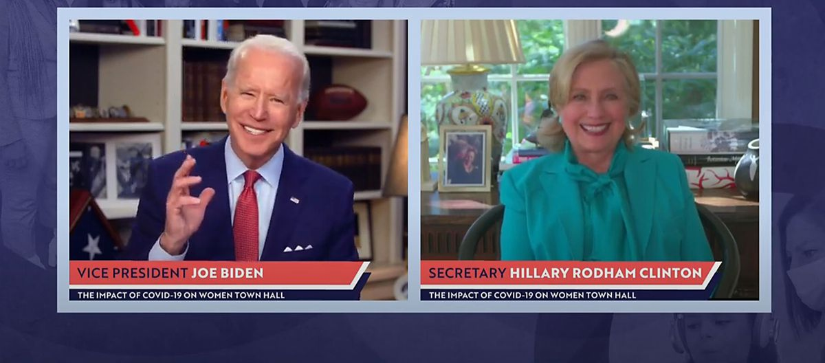 Hillary Clinton Joins Presidential Candidate Joe Biden's Livestreamed Town Hall
