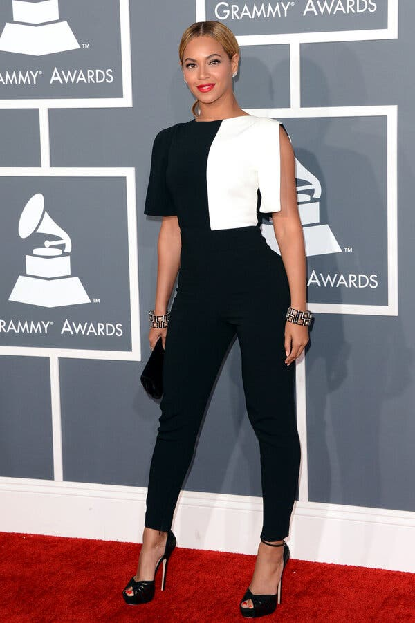 Beyonce at the 55th Annual GRAMMY Awards red carpet wearing Osman in 2013.