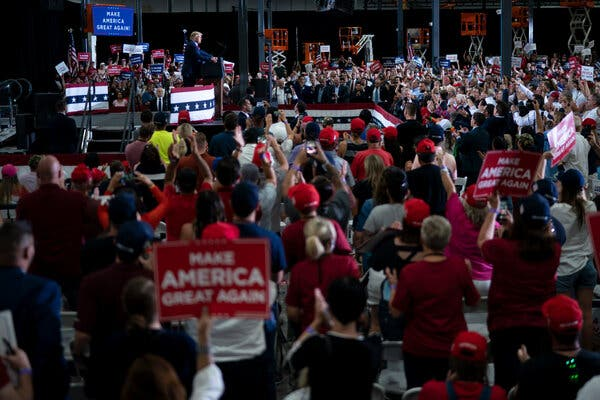 President Trump at a campaign rally in Henderson, Nev., on Sunday, his first indoor rally since late June.