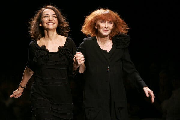 Sonia Rykiel, right, and her daughter, Nathalie Rykiel, taking their runway bow after the presentation of their spring 2007 show in Paris.