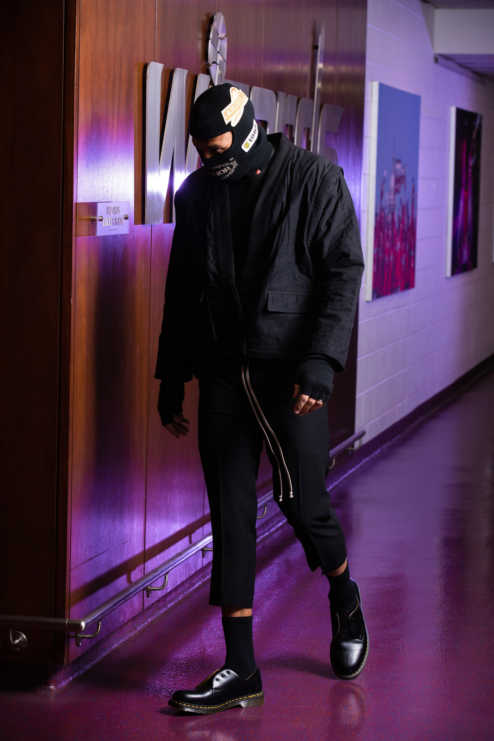 Russell Westbrook arrives for a game in Washington D.C. February 15 2021.