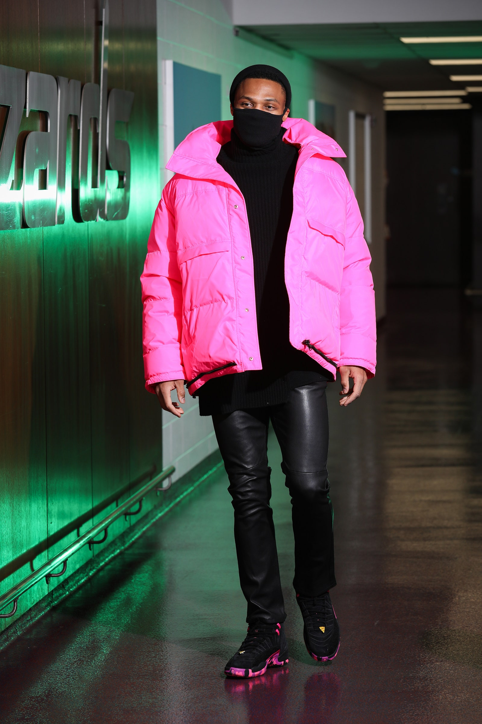 Russell Westbrook arrives for a game in Washington D.C. February 12 2021.