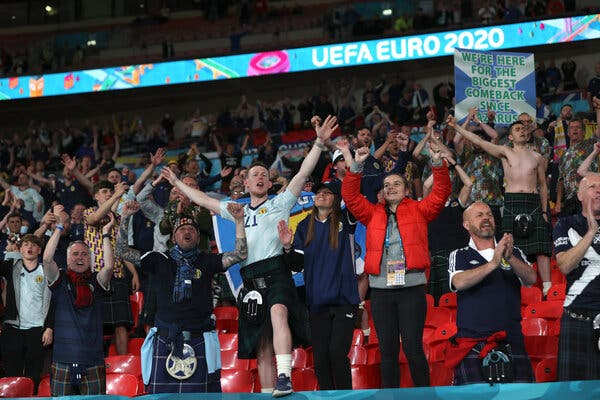 Scotland supporters celebrating at the Euro 2020 soccer championship match between Scotland and England at Wembley Stadium in London on June 18.