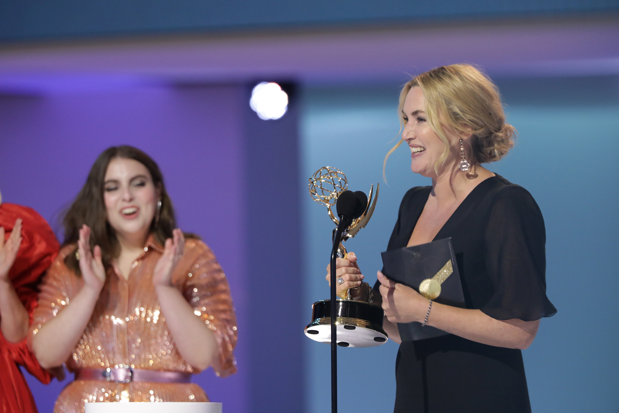 Kate Winslet accepts her award for outstanding lead actress in a limited series or TV movie at the Emmy Awards, on September 19.